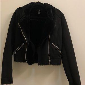 Zara faux fur black jacket in XS - barely worn!